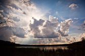 Summer sunset over woodlands lake — Stock Photo
