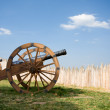 Stock Photo: Ancient cannon battery in wooden fortress