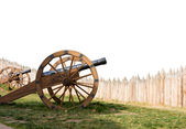 Ancient cannon battery in defence — Stock Photo