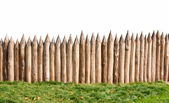 Old wooden fence and grass — Stock Photo