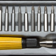 Screwdriver handle and bits — Zdjęcie stockowe