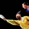 Two performers of Busan Korean traditional dance at theatre — Foto de Stock