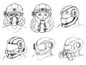 Illustration of conceptual gas mask and recon helmet army — Stock Photo