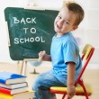 Little schoolboy at the chalkboard — Stock Photo #29573635