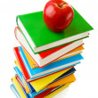 Stack of books with an apple — Foto de Stock
