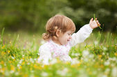 Beautiful little girl in a field of flowers — Stock Photo