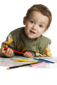 Cute boy draw with color crayons — Stock Photo