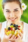 Eating fruit is healthy,try it! — Stock Photo