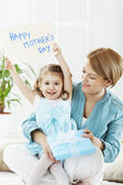 Daughter Holding Sign With Her Mom — Stock Photo