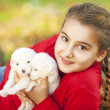 Beautiful little girl and puppies — Stock Photo
