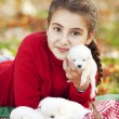 Playful girl with her puppies — Stock Photo
