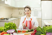 Woman Preparing Salad In Kitchen — Stock Photo