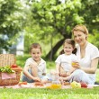 Mother having outdoor meal with her children — Stock Photo