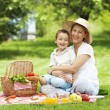 Stock Photo: Mother and son on a picnic