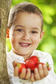 Ragazzo con fragole in mani — Foto Stock