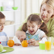 Fresh made juice for helthy family — Stock Photo