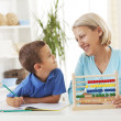 Mother and son learning math — Stock Photo