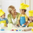 Stock Photo: Little bakers having fun