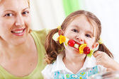 Child eating healthy snack — Stock Photo