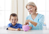 Learning to save money — Stock Photo