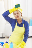 So tired woman of cleaning — Stock Photo
