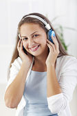 Teenager listening music — Stock Photo