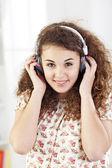 Teenager listening music — Stock Photo