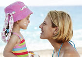 Protecting Child From The Sun — Stock Photo