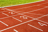 White lines and numbers on the track at stadium . — Stock Photo