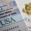 Stock Photo: Document with symbols of United States of America, visible gold americeagle.