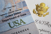 The document with the symbols of the United States of America, visible gold american eagle. — Stock Photo