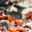 Burning charcoal, ash visible. — Stock Photo