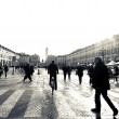 Walking in Turin,piazza San Carlo — Stock Photo
