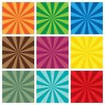 Set of Sun Sunburst retro Pattern — Stock Vector