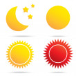 Stock Vector: Moon sun and star symbol