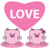 Pig in love — Stock Vector