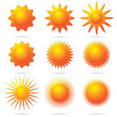 Set of sun symbol — Stock Vector