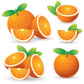 Oranges with leaves set — Stock Vector
