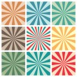 Abstract retro sun burst background set — Stock Vector
