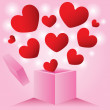 Heart from outside love box — Vector de stock