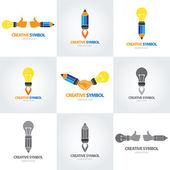 Conjunto de símbolo criativo — Vetor de Stock