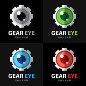 Gear eye symbol icon — Stock Vector