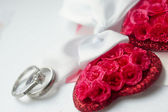 Wedding day, hearts and rings — Stock Photo