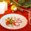 Christmas decoration dinnerware set — Stock Photo