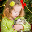 Cute baby girl in green dress is kissing a cat near christmas tree — Stock Photo #37198895