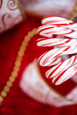 Christmas peppermint candy canes — Stock Photo