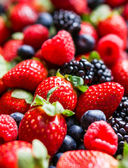 Closeup of fresh berries(raspberries,strawberries,blueberries,blackberries) — Stock Photo