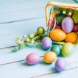 Stock Photo: Easter eggs in basket on blue wooden background