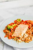 Grilled salmon with quinoa and vegetables — Stock Photo