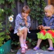 Two girls eating apples, playing dogs toys — Stock Video #31670709